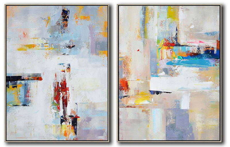 Large Abstract Art,Set Of 2 Contemporary Art On Canvas,Oversized Art,White,Blue,Violet Ash,Red,Grey.Etc