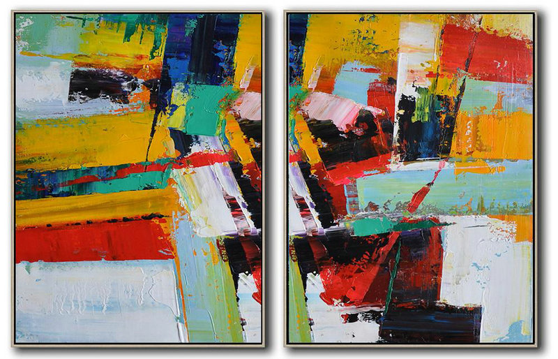 Huge Abstract Painting On Canvas,Set Of 2 Contemporary Art On Canvas,Large Paintings For Living Room,Yellow,Red,White,Dark Blue,Black.Etc