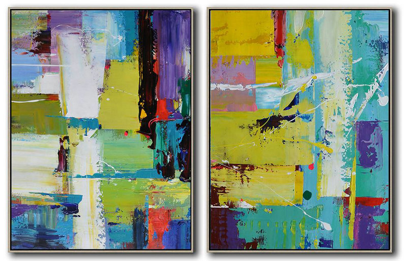 Oversized Canvas Art On Canvas,Set Of 2 Contemporary Art On Canvas,Big Art Canvas,Yellow,Light Green,Red,Purple.Etc