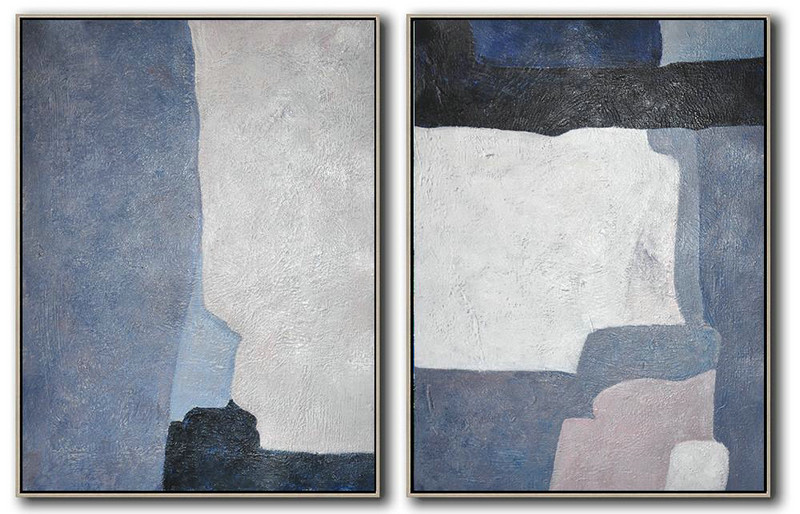 Large Abstract Painting Set Of 2 Contemporary Art On Canvas