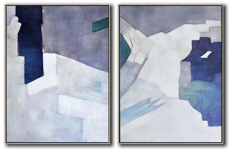 Hand Made Abstract Art,Set Of 2 Contemporary Art On Canvas,Large Canvas Art,Violet Ash,Dark Blue,White,Blue.Etc