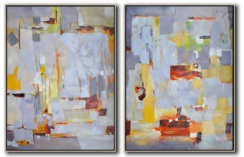 "Extra Large 72"" Acrylic Painting,Set Of 2 Contemporary Art On Canvas,Acrylic Painting Canvas Art,Grey,White,Yellow,Red.Etc"