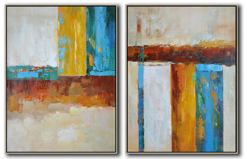 Abstract Painting Extra Large Canvas Art,Set Of 2 Contemporary Art On Canvas,Hand-Painted Canvas Art,Grey,Yellow,Blue,Dark Red,Brown.Etc