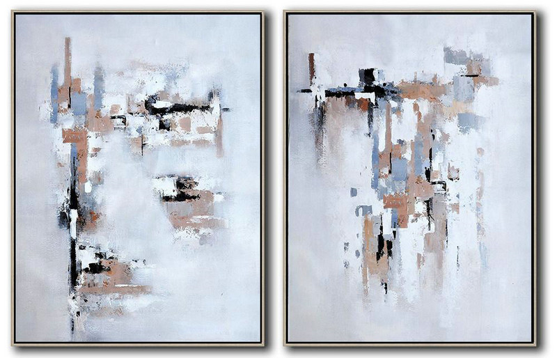 Extra Large Canvas Art,Set Of 2 Contemporary Art On Canvas,Original Abstract Painting Canvas Art,White,Grey,Black,Earthy Yellow .Etc