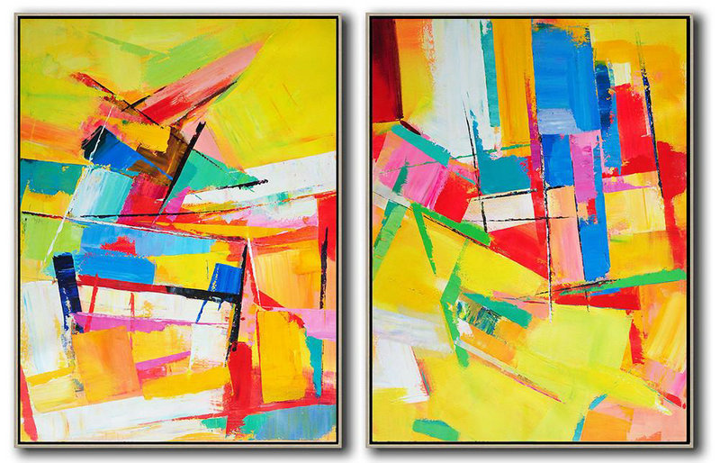 Extra Large Abstract Painting On Canvas,Set Of 2 Contemporary Art On Canvas,Large Abstract Art Handmade Acrylic Painting,Yellow,Red,Blue,Green,Purple.Etc