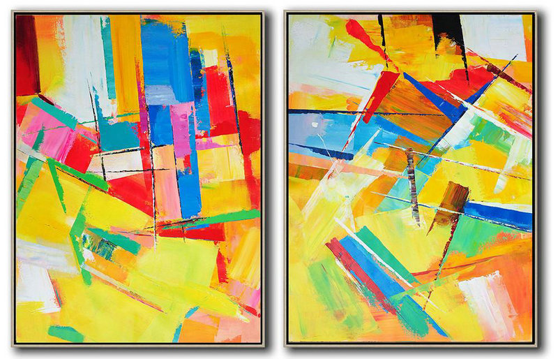 Large Modern Abstract Painting,Set Of 2 Contemporary Art On Canvas,Huge Canvas Art On Canvas,Red,Yellow,Blue,Purple,Green.Etc
