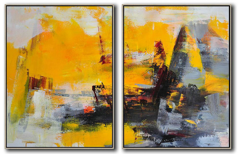Large Abstract Art Handmade Oil Painting,Set Of 2 Contemporary Art On Canvas,Large Oil Canvas Art,Yellow,Grey,Black.Etc