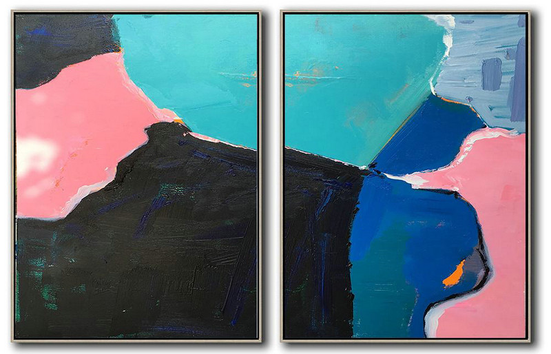 "Extra Large 72"" Acrylic Painting,Set Of 2 Contemporary Art On Canvas,Original Abstract Painting Canvas Art,Lake Blue,Black,Pink,Dark Blue,Grey.Etc"