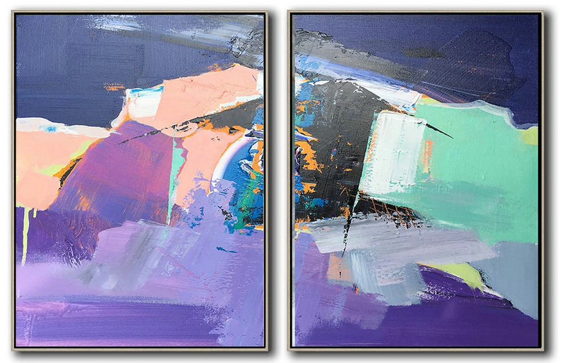 Handmade Extra Large Contemporary Painting,Set Of 2 Contemporary Art On Canvas,Original Modern Art,Large Wall Art Handmade,Dark Blue,Nude,Purple,Light Green,White.Etc