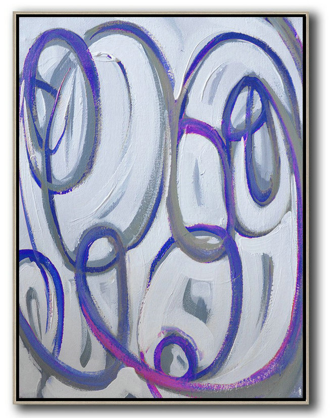 Abstract Painting Extra Large Canvas Art,Vertical Contemporary Art,Wall Art Ideas For Living Room,Blue,White,Pink,Purple.Etc
