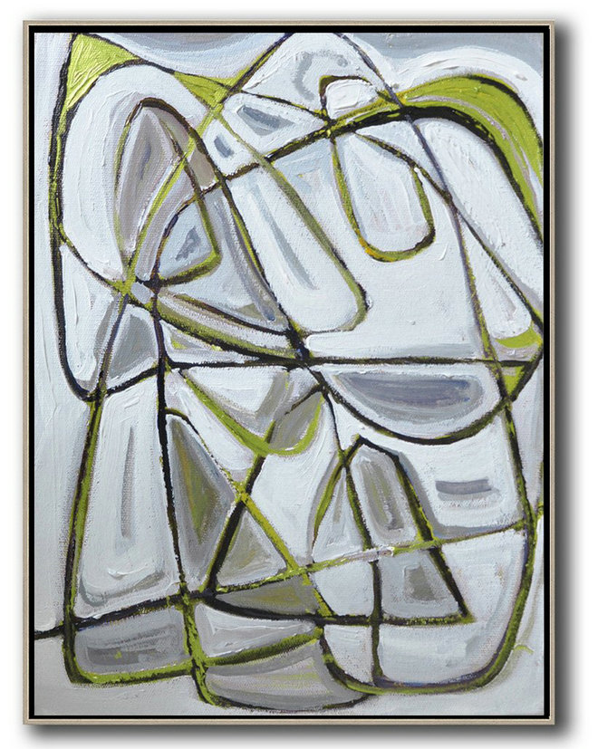 Hand Painted Extra Large Abstract Painting,Vertical Contemporary Art,Canvas Wall Art Home Decor,Grey,Brown,Light Green,White,Black.Etc
