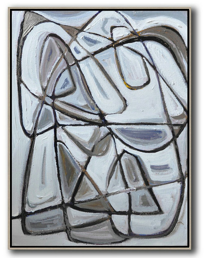 Large Abstract Art,Vertical Contemporary Art,Huge Abstract Canvas Art,Grey,Brown,White,Black.Etc