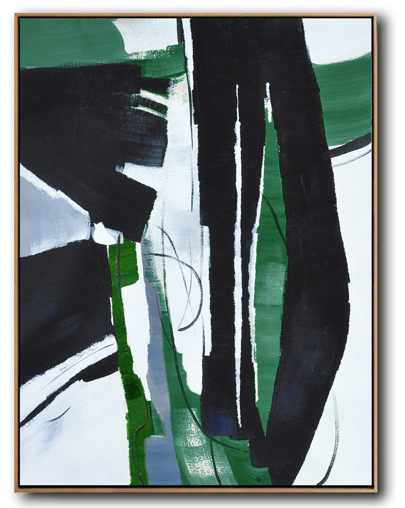 Original Painting Hand Made Large Abstract Art,Hand Painted Large Vertical Contemporary Painting On Canvas,Canvas Artwork For Sale,Black,Dark Green,White.Etc