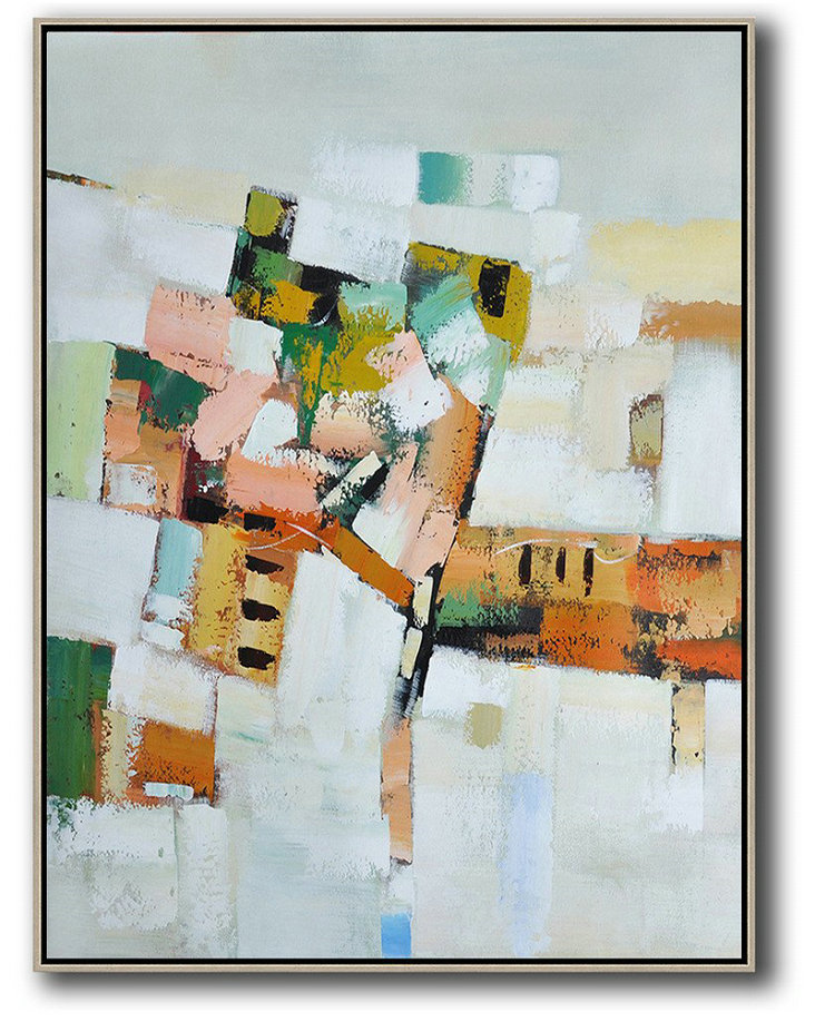 Abstract Painting Extra Large Canvas Art,Vertical Palette Knife Contemporary Art,Big Painting,Grey,White,Yellow,Orange,Pink.Etc