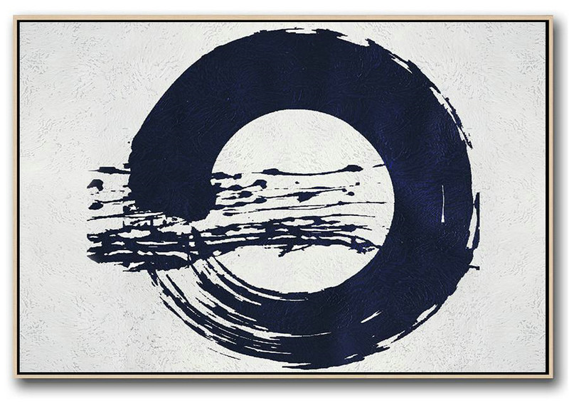 Oversized Art,Horizontal Abstract Painting Navy Blue Minimalist Painting On Canvas,Modern Living Room Decor #E6Y2