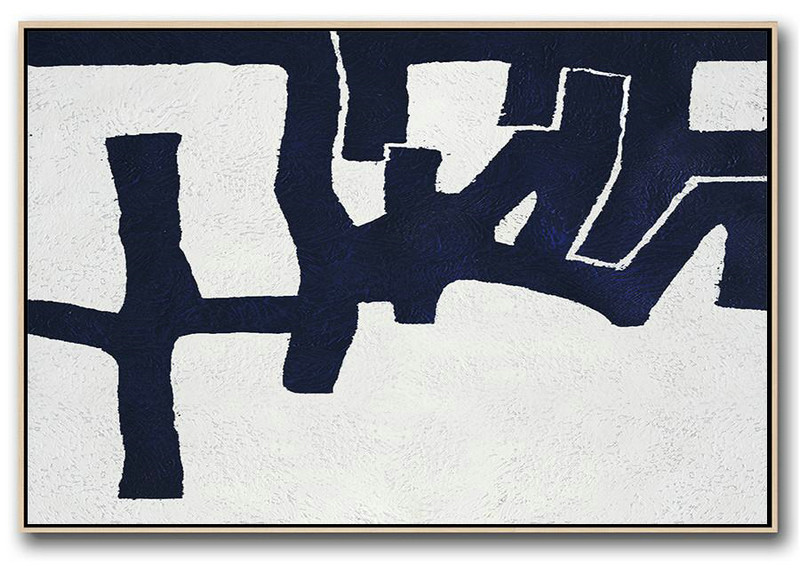 Modern Art Abstract Painting,Horizontal Abstract Painting Navy Blue Minimalist Painting On Canvas,Large Wall Art Canvas #M9O4