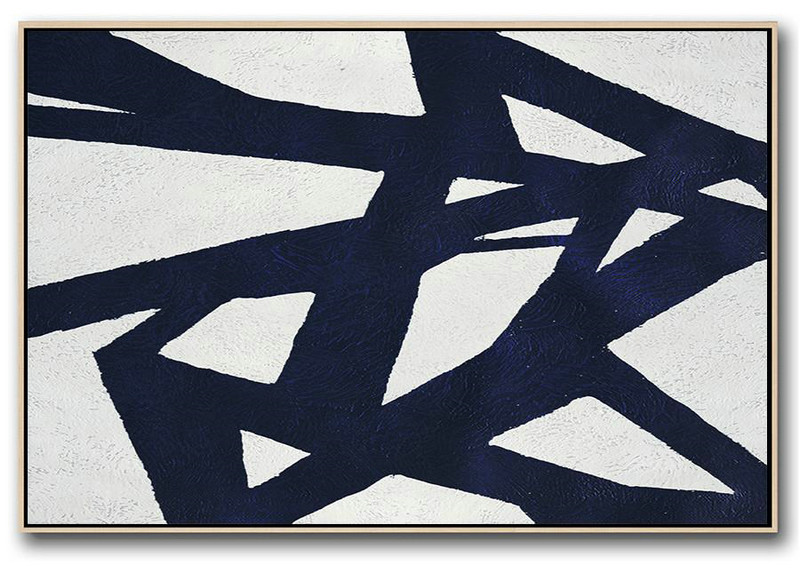 Extra Large Artwork,Horizontal Abstract Painting Navy Blue Minimalist Painting On Canvas,Giant Canvas Wall Art #U2N6