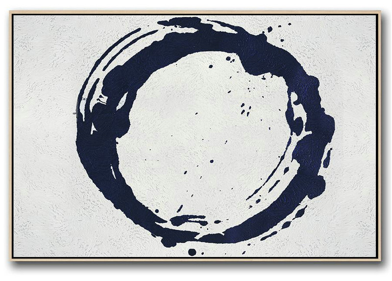 Large Paintings For Living Room,Horizontal Abstract Painting Navy Blue Minimalist Painting On Canvas,Acrylic Painting Large Wall Art #F5B0