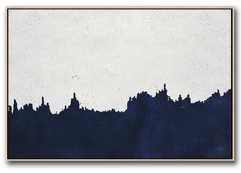 Big Art Canvas,Horizontal Abstract Painting Navy Blue Minimalist Painting On Canvas,Textured Painting Canvas Art #P9S5