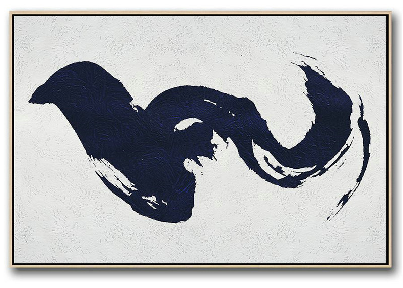 Acrylic Painting On Canvas,Horizontal Abstract Painting Navy Blue Minimalist Painting On Canvas,Large Canvas Art #U6Q3