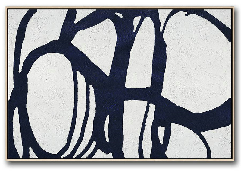 Large Wall Art Home Decor,Horizontal Abstract Painting Navy Blue Minimalist Painting On Canvas,Hand Painted Acrylic Painting #F5H4
