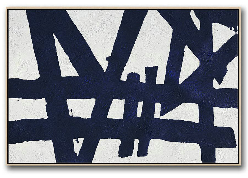 Acrylic Painting Large Wall Art,Horizontal Abstract Painting Navy Blue Minimalist Painting On Canvas,Artwork For Sale #X3Q6