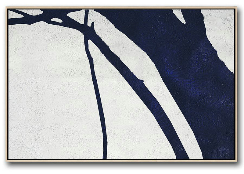 Acrylic Minimailist Painting,Horizontal Abstract Painting Navy Blue Minimalist Painting On Canvas,Modern Canvas Art #L7X8
