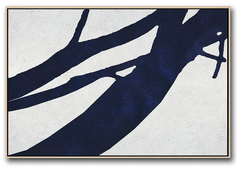 Hand Paint Abstract Painting,Horizontal Abstract Painting Navy Blue Minimalist Painting On Canvas,Acrylic Painting Wall Art #K5A9