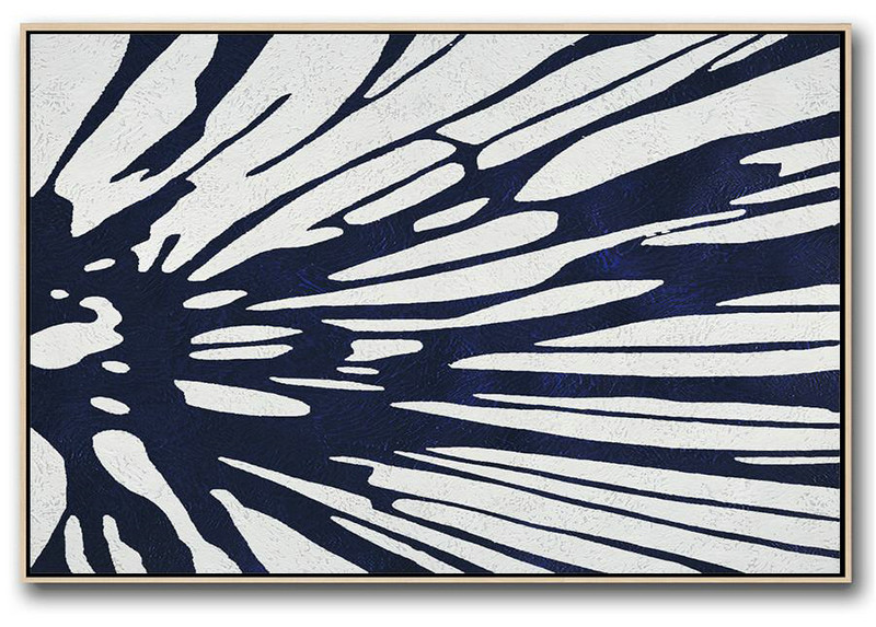 Original Art Acrylic Painting,Horizontal Abstract Painting Navy Blue Minimalist Painting On Canvas,Hand Painted Abstract Art #Z8L0
