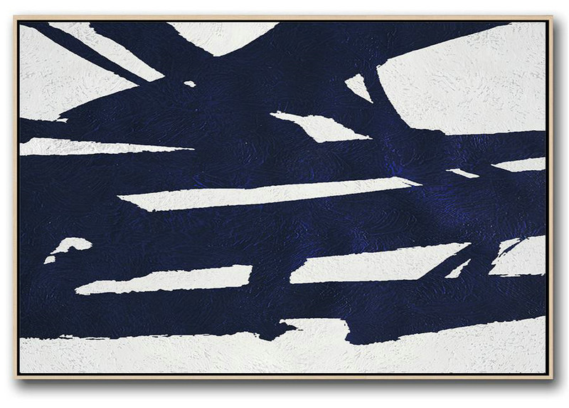 Wall Art Painting,Horizontal Abstract Painting Navy Blue Minimalist Painting On Canvas,Huge Abstract Canvas Art #S7V4