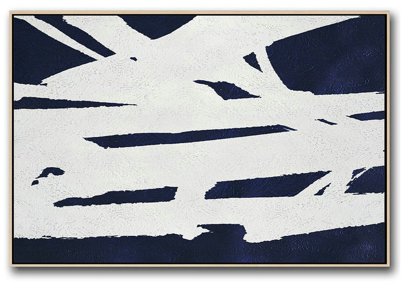Colorful Wall Art,Horizontal Abstract Painting Navy Blue Minimalist Painting On Canvas,Acrylic Painting Large Wall Art #N9K2