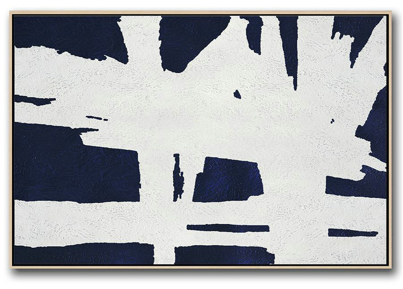 Pop Art Canvas,Horizontal Abstract Painting Navy Blue Minimalist Painting On Canvas,Oversized Custom Canvas Art #D1E6
