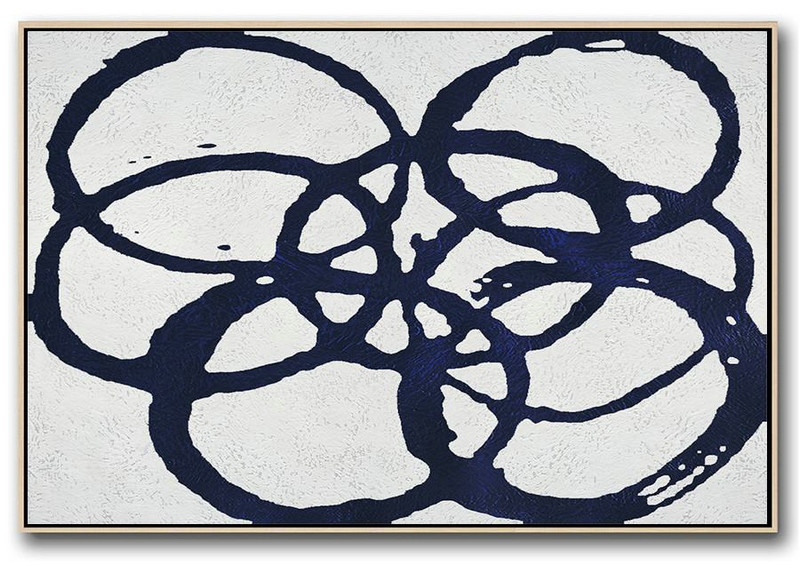 Canvas Wall Art,Horizontal Navy Painting Abstract Minimalist Art On Canvas,Lounge Wall Decor #D6B1