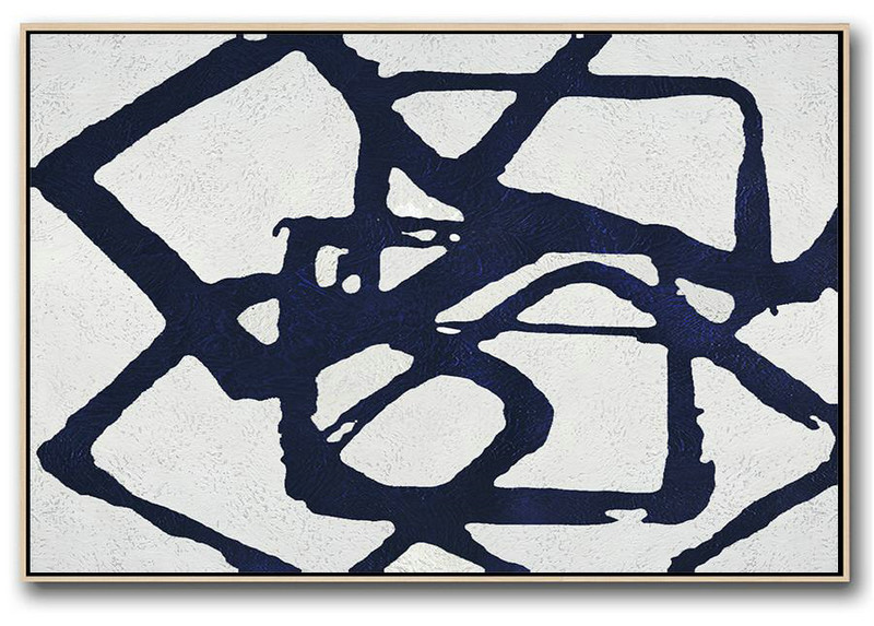 Art Work,Horizontal Navy Painting Abstract Minimalist Art On Canvas,Pretty Abstract Paintings #Y4A4