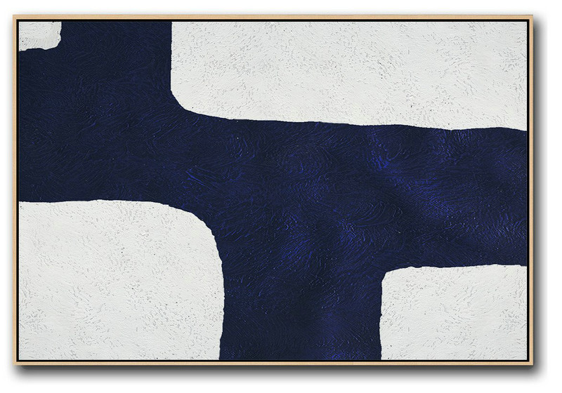 Artwork For Sale,Horizontal Navy Painting Abstract Minimalist Art On Canvas,Bedroom Wall Decor #N3E6
