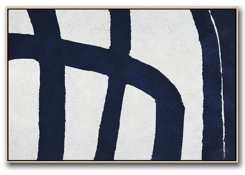 Large Abstract Art,Horizontal Navy Painting Abstract Minimalist Art On Canvas,Lounge Wall Decor #H7U2