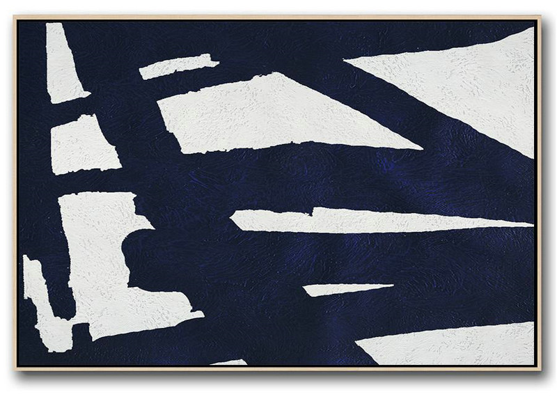 Canvas Painting Wall Decor,Horizontal Navy Painting Abstract Minimalist Art On Canvas,Modern Art Oil Painting #T9W9