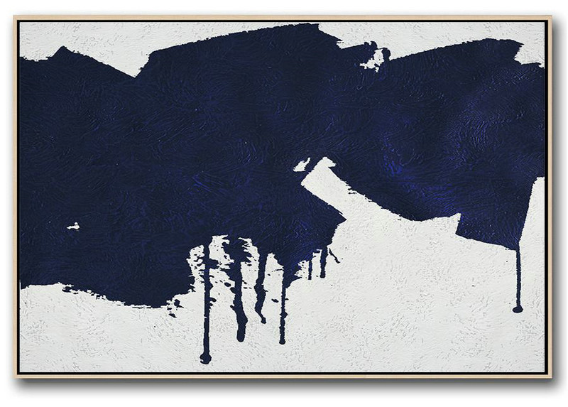 Modern Art Oil Painting,Horizontal Navy Painting Abstract Minimalist Art On Canvas,Acrylic Painting Canvas Art #E9V6