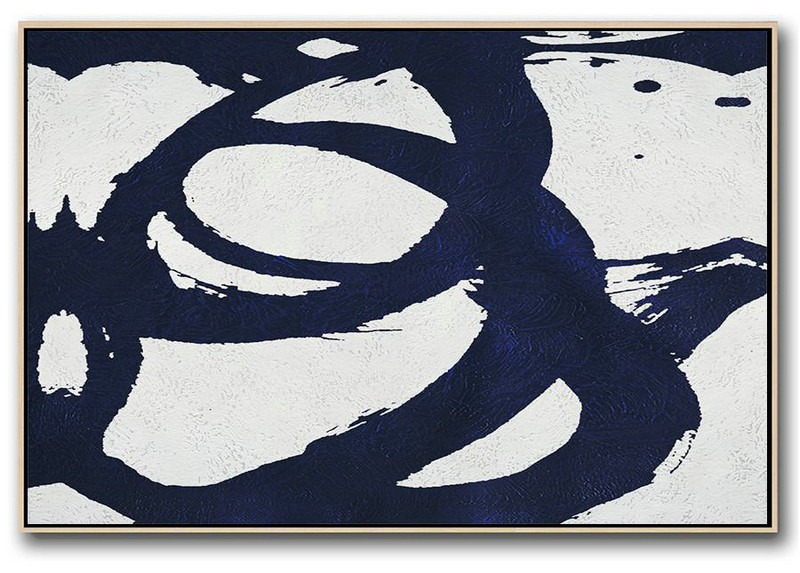 Large Abstract Art,Horizontal Navy Painting Abstract Minimalist Art On Canvas,Living Room Wall Art #N5U9