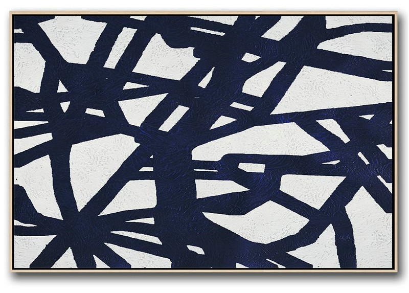 Hand Painted Acrylic Painting,Horizontal Navy Painting Abstract Minimalist Art On Canvas,Extra Large Wall Art #W1S9