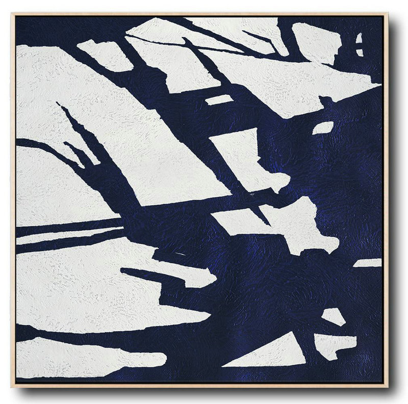 "Extra Large 72"" Acrylic Painting,Hand Painted Navy Minimalist Painting On Canvas,Contemporary Canvas Paintings #I3B2"