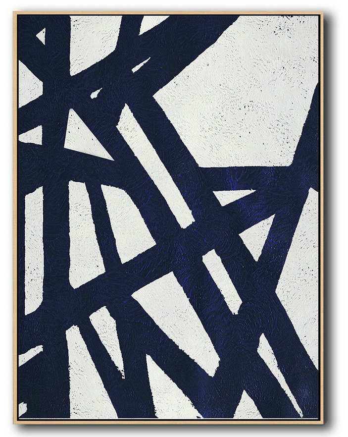 Extra Large Painting,Buy Hand Painted Navy Blue Abstract Painting Online,Modern Abstract Wall Art #U9K6