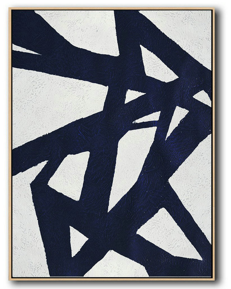 Abstract Painting Extra Large Canvas Art,Buy Hand Painted Navy Blue Abstract Painting Online,Unique Canvas Art #S3Y4