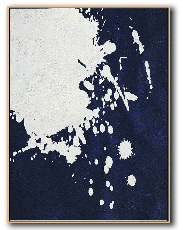 "Extra Large 72"" Acrylic Painting,Buy Hand Painted Navy Blue Abstract Painting Online,Extra Large Canvas Painting #Q7N1"