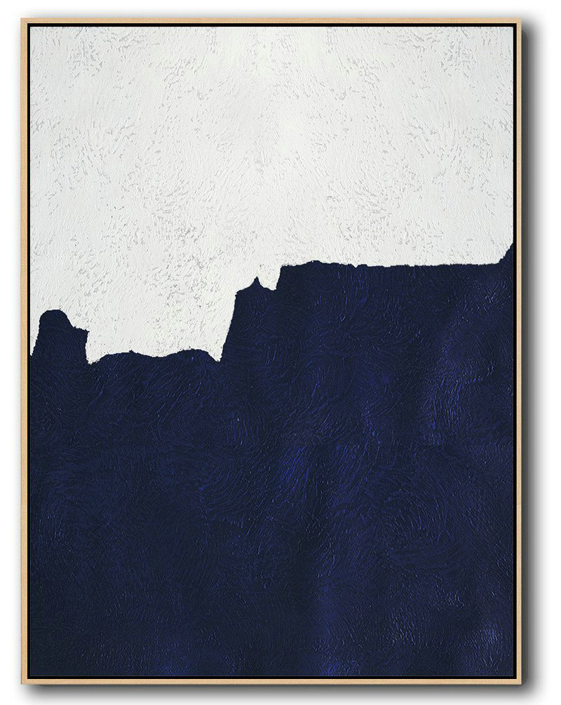 Large Abstract Art,Buy Hand Painted Navy Blue Abstract Painting Online,Modern Paintings #U3L8