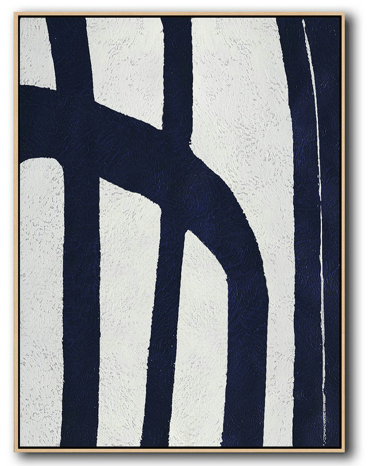 "Extra Large 72"" Acrylic Painting,Buy Hand Painted Navy Blue Abstract Painting Online,Canvas Wall Art Home Decor #O7Q6"