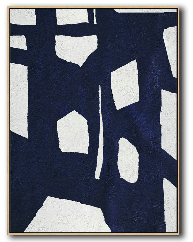 Handmade Large Contemporary Art,Buy Hand Painted Navy Blue Abstract Painting Online,Pop Art Canvas #Y6H7
