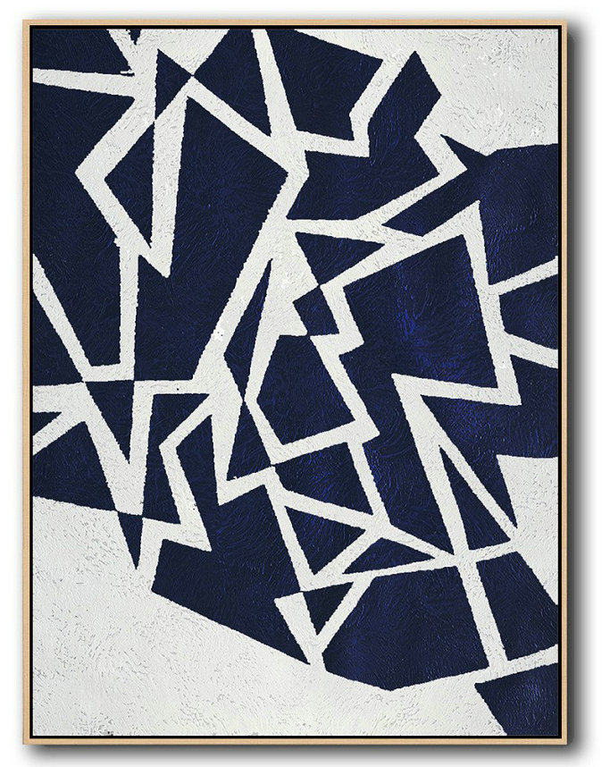 Large Abstract Painting Canvas Art,Buy Hand Painted Navy Blue Abstract Painting Online,Hand Painted Aclylic Painting On Canvas #L7P7