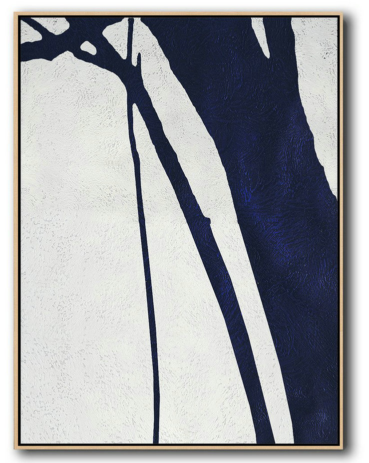 Handmade Large Contemporary Art,Buy Hand Painted Navy Blue Abstract Painting Online,Modern Canvas Art #Q3M2