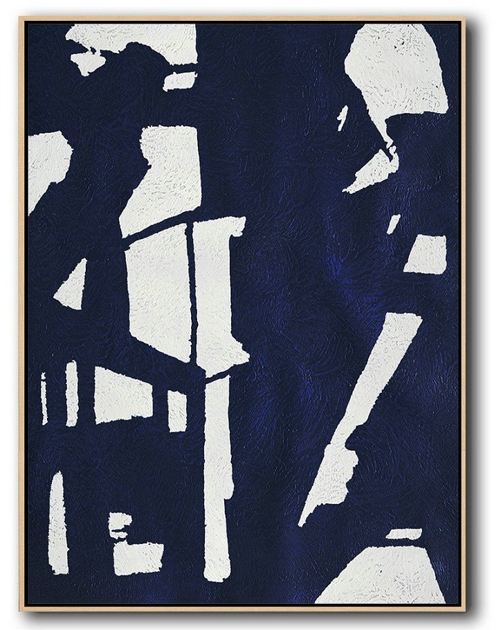 Large Abstract Art,Buy Hand Painted Navy Blue Abstract Painting Online,Wall Art Painting #Y6G1